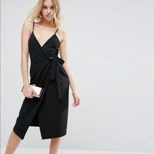 ASOS Crepe Wrap Ring Midi Dress